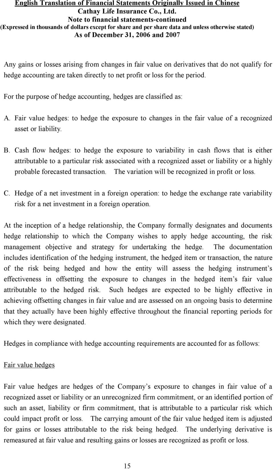 Cash flow hedges: to hedge the exposure to variability in cash flows that is either attributable to a particular risk associated with a recognized asset or liability or a highly probable forecasted