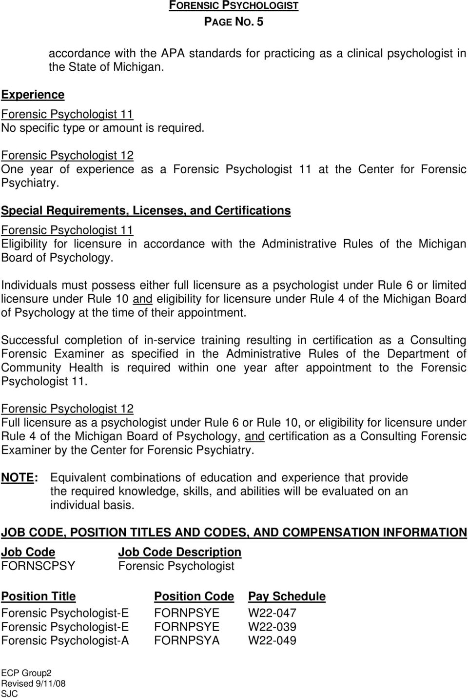 Special Requirements, Licenses, and Certifications Eligibility for licensure in accordance with the Administrative Rules of the Michigan Board of Psychology.