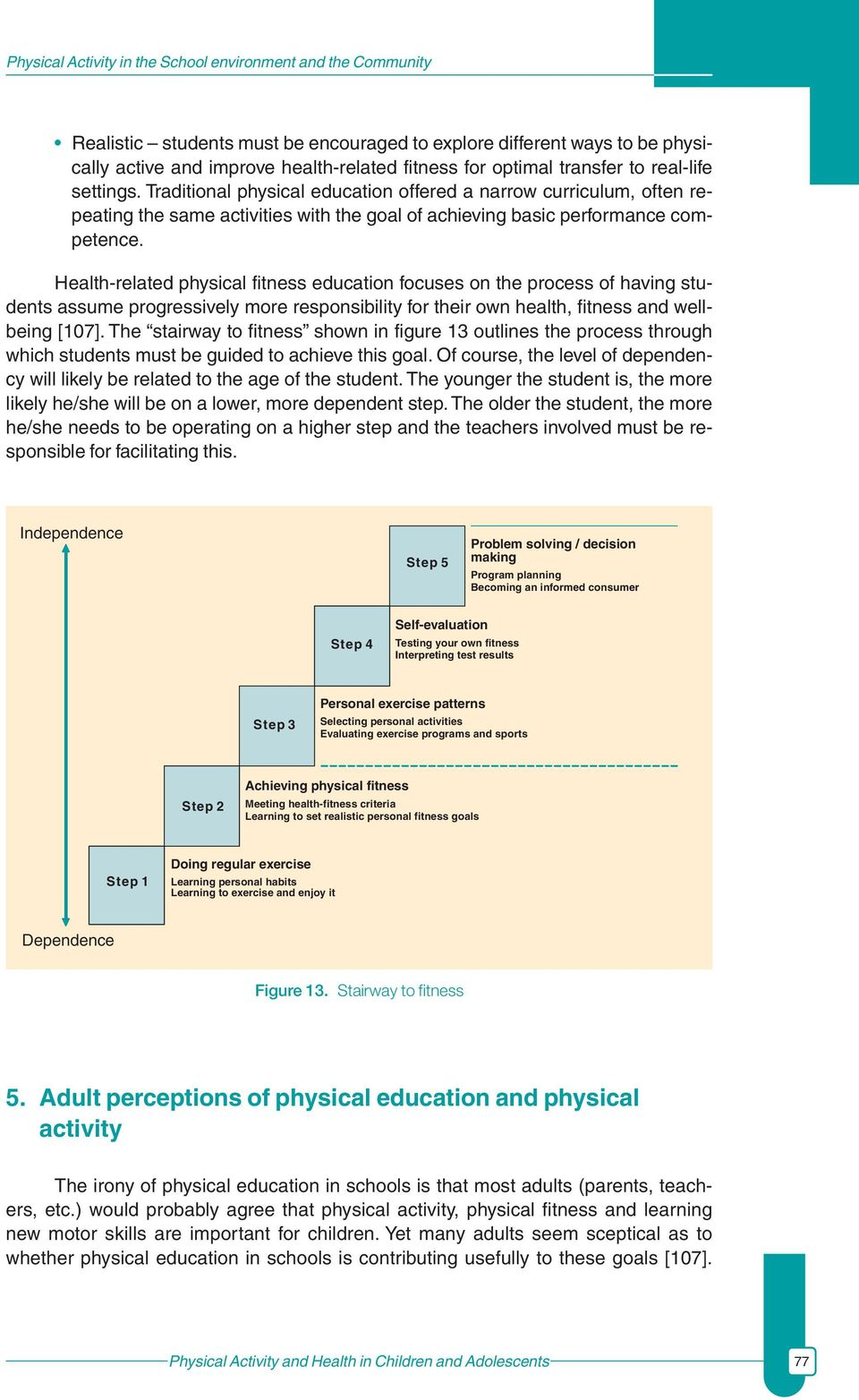 Health-related physical fitness education focuses on the process of having students assume progressively more responsibility for their own health, fitness and wellbeing [107].