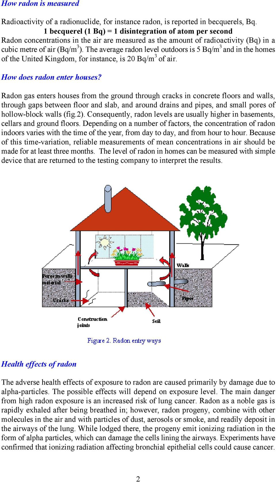 The average radon level outdoors is 5 Bq/m 3 and in the homes of the United Kingdom, for instance, is 20 Bq/m 3 of air. How does radon enter houses?