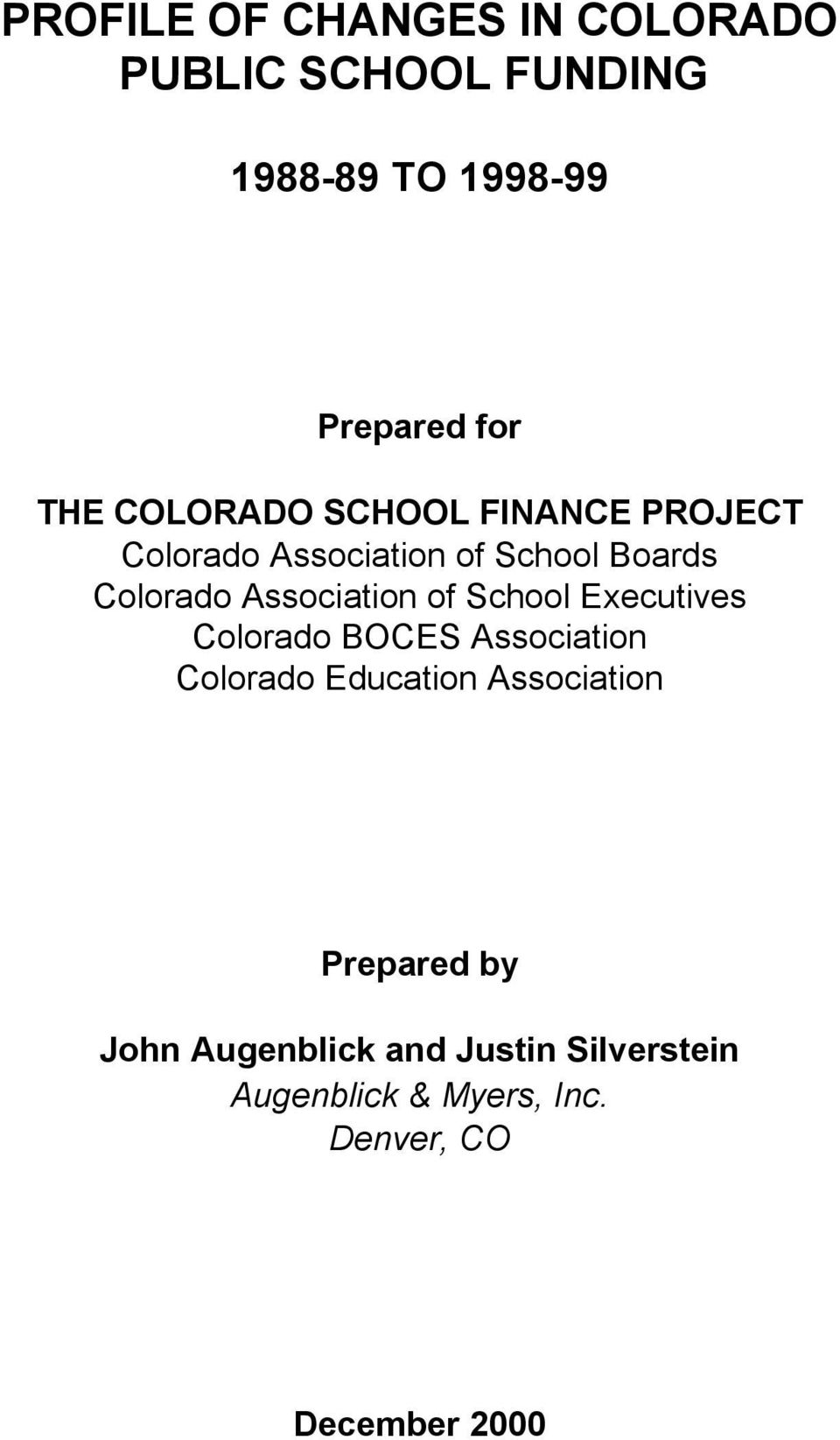 Association of School Executives Colorado BOCES Association Colorado Education