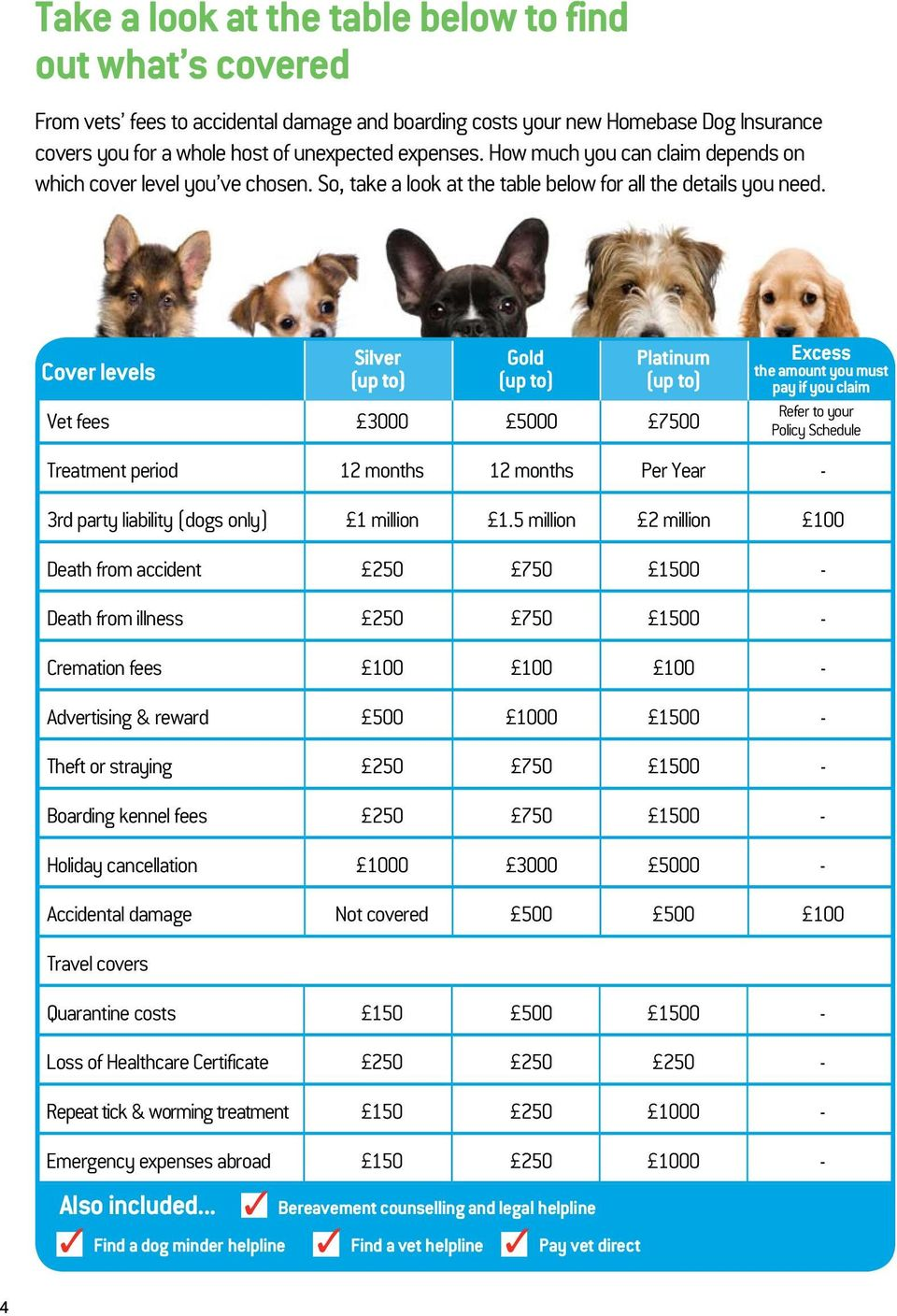 Cover levels Vet fees 3000 5000 7500 Treatment period 12 months 12 months Per Year - 3rd party liability (dogs only) 1 million 1.