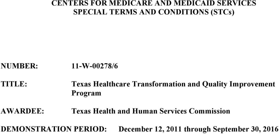 Transformation and Quality Improvement Program Texas Health and Human