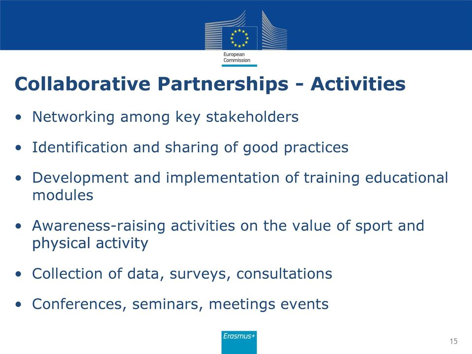 training educational modules Awareness-raising activities on the value of sport and