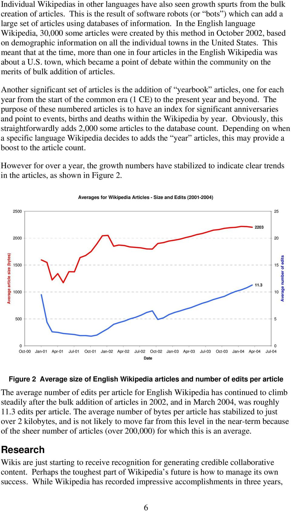 In the English language Wikipedia, 30,000 some articles were created by this method in October 2002, based on demographic information on all the individual towns in the United States.