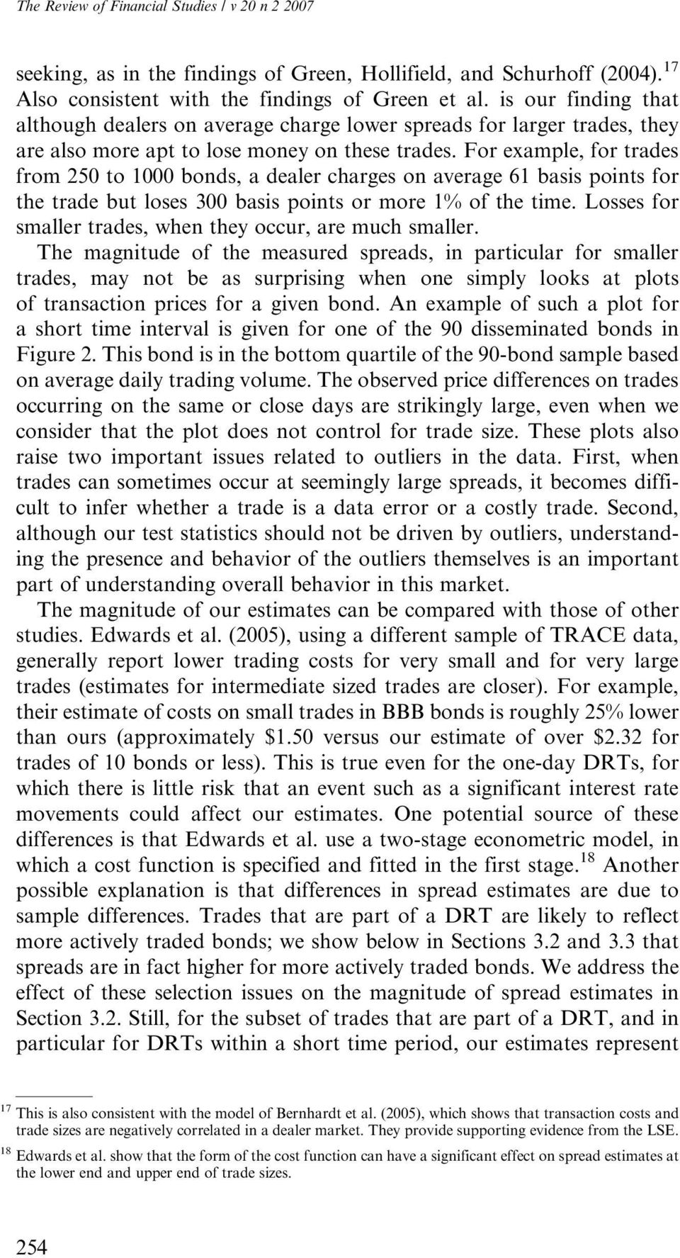 For example, for trades from 250 to 1000 bonds, a dealer charges on average 61 basis points for the trade but loses 300 basis points or more 1% of the time.