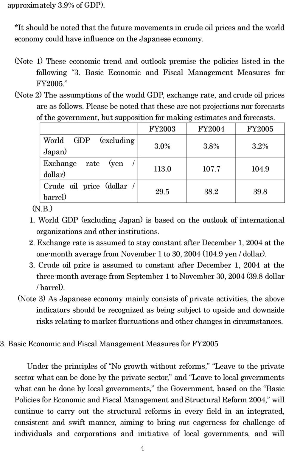 (Note 2) The assumptions of the world GDP, exchange rate, and crude oil prices are as follows.