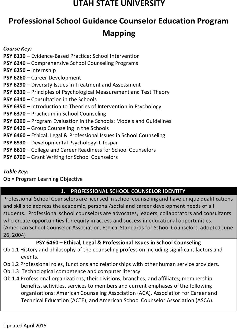 in the Schools PSY 6350 Introduction to Theories of Intervention in Psychology PSY 6370 Practicum in School Counseling PSY 6390 Program Evaluation in the Schools: Models and Guidelines PSY 6420 Group