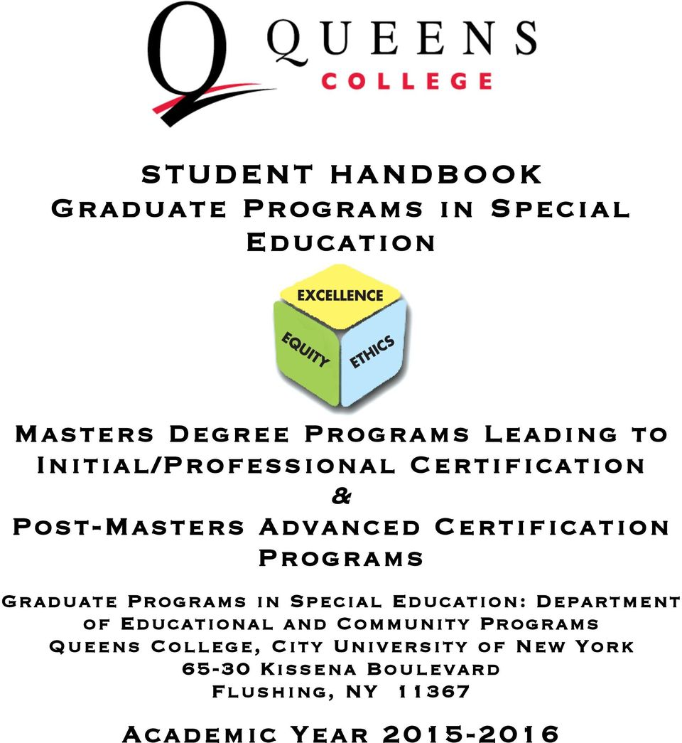 Programs in Special Education: Department of Educational and Community Programs Queens