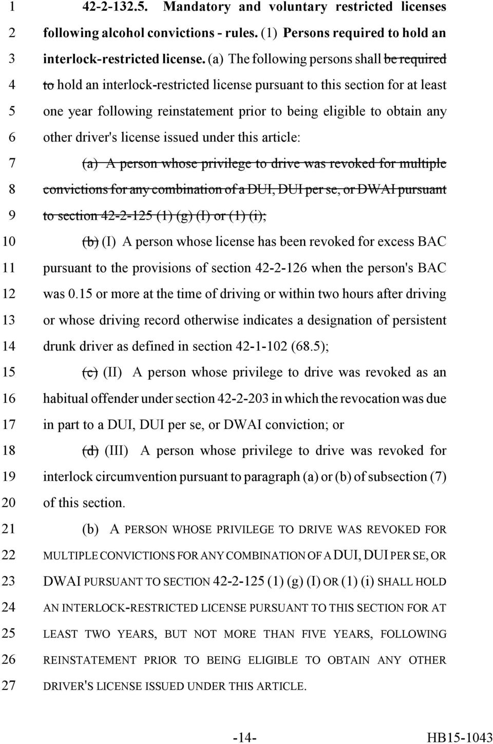 driver's license issued under this article: (a) A person whose privilege to drive was revoked for multiple convictions for any combination of a DUI, DUI per se, or DWAI pursuant to section -- (1) (g)