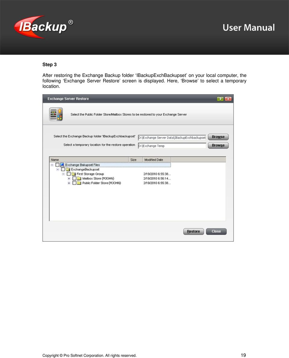 Exchange Server Restore screen is displayed.