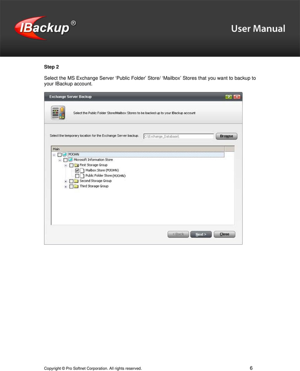 to backup to your IBackup account.