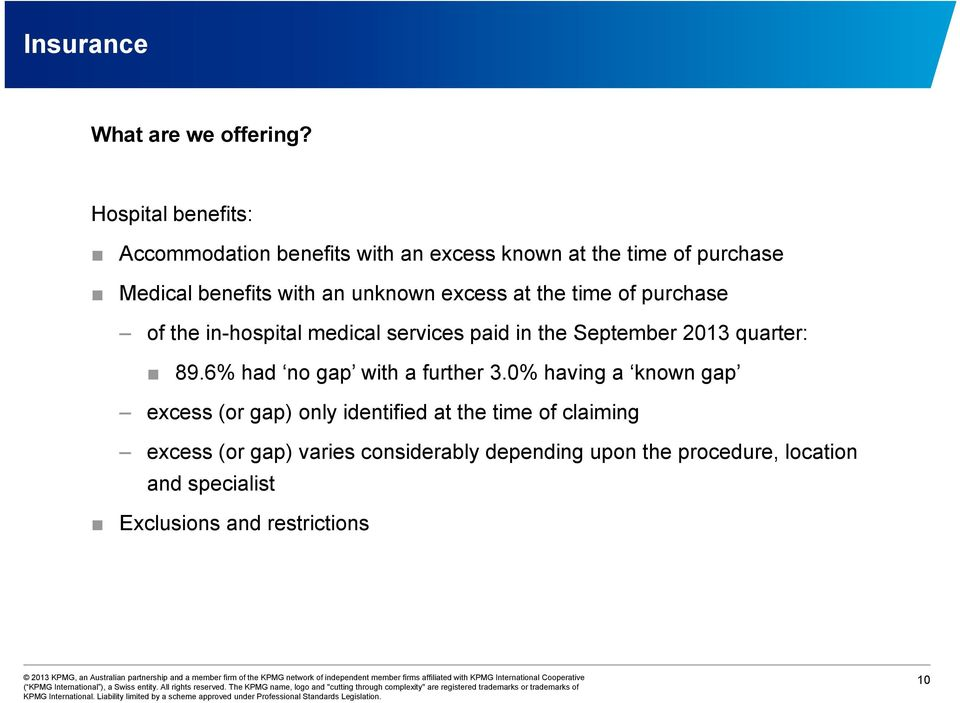 excess at the time of purchase of the in-hospital medical services paid in the September 2013 quarter: 89.