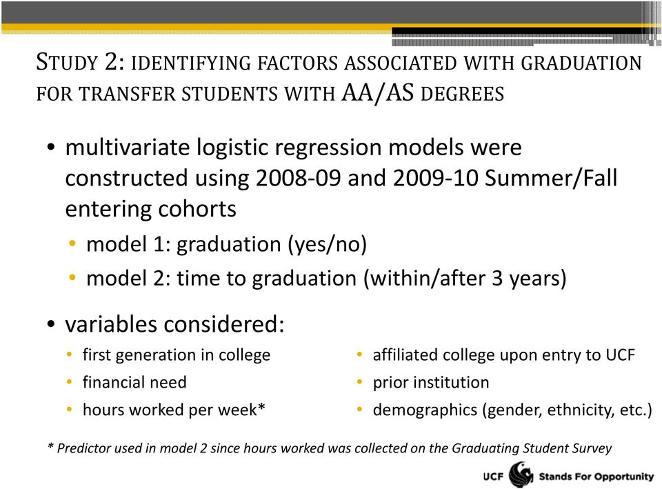 (within/after 3 years) variables considered: first generation in college financial need hours worked per week* affiliated college upon entry