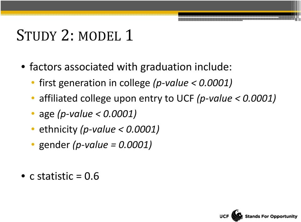 0001) affiliated college upon entry to UCF (p value < 0.