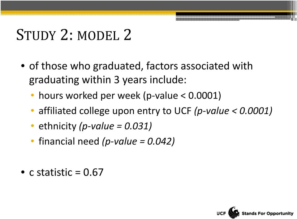 0.0001) affiliated college upon entry to UCF (p value < 0.