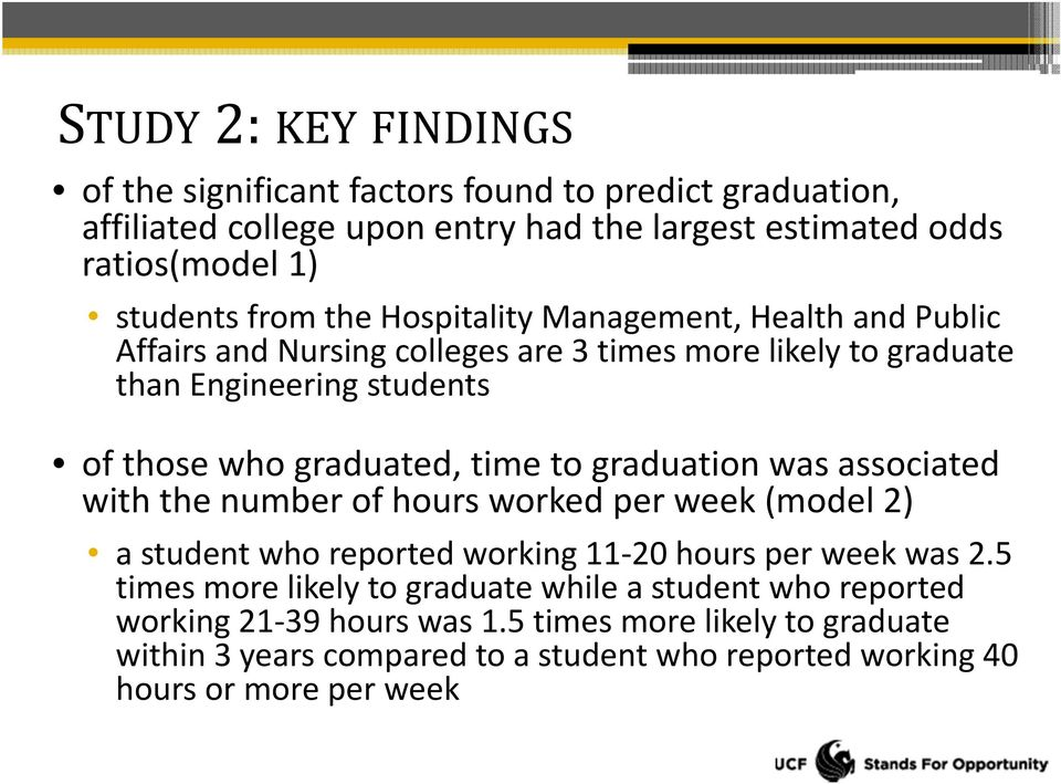 graduation was associated with the number of hours worked per week (model 2) a student who reported working 11 20 hours per week was 2.