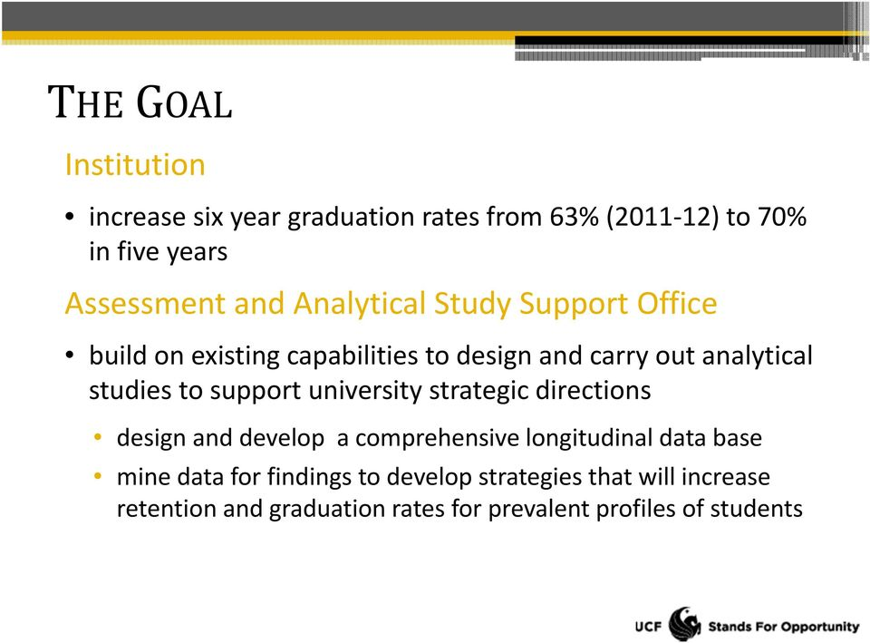 support university strategic directions design and develop a comprehensive longitudinal data base mine data for