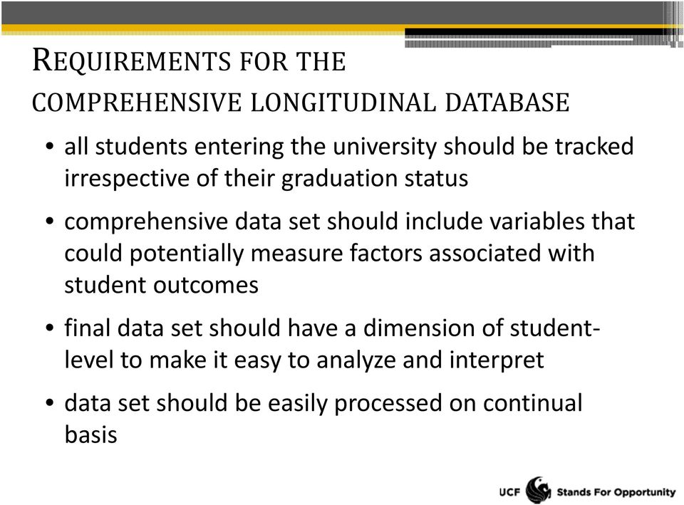could potentially measure factors associated with student outcomes final data set should have a dimension