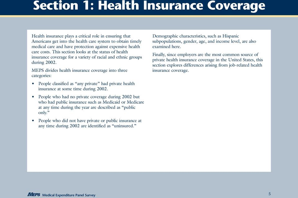 MEPS divides health insurance coverage into three categories: People classified as any private had private health insurance at some time during 2002.