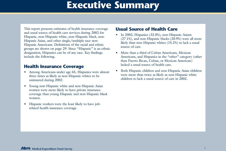 Key findings include the following. Health Insurance Coverage Among Americans under age 65, Hispanics were almost three times as likely as non-hispanic whites to be uninsured during 2002.