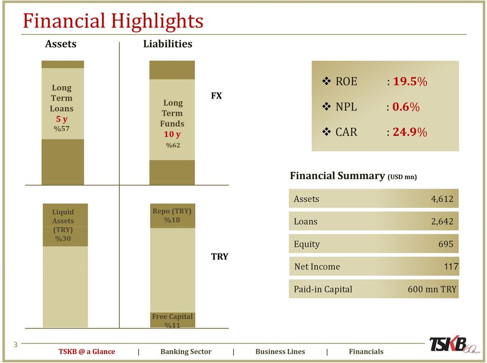 9% % Financial Summary (USD mn) Assets 4,612 Liquid Assets (TRY) %30 Repo (TRY) %18
