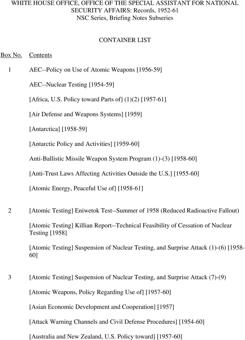 Policy toward Parts of] (1)(2) [1957-61] [Air Defense and Weapons Systems] [1959] [Antarctica] [1958-59] [Antarctic Policy and Activities] [1959-60] Anti-Ballistic Missile Weapon System Program