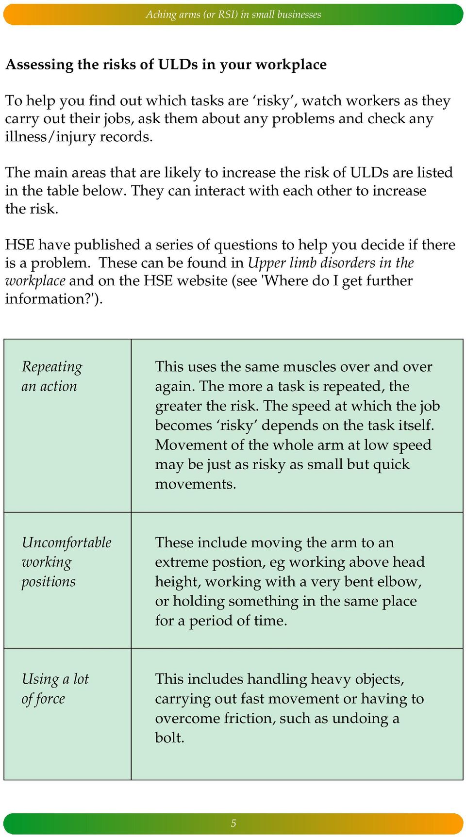 HSE have published a series of questions to help you decide if there is a problem.