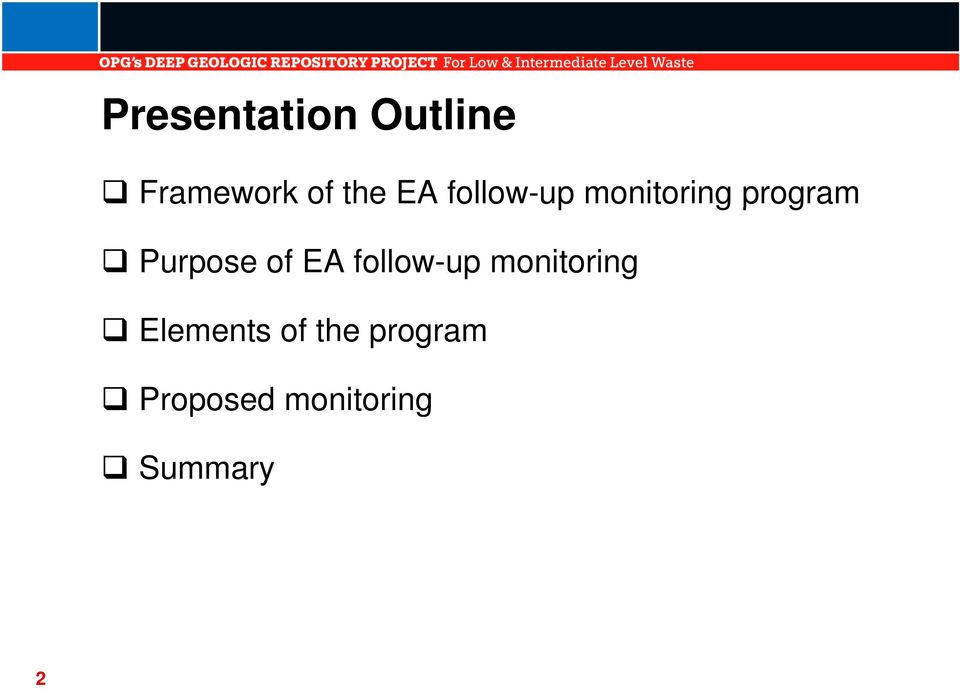 of EA follow-up monitoring Elements of
