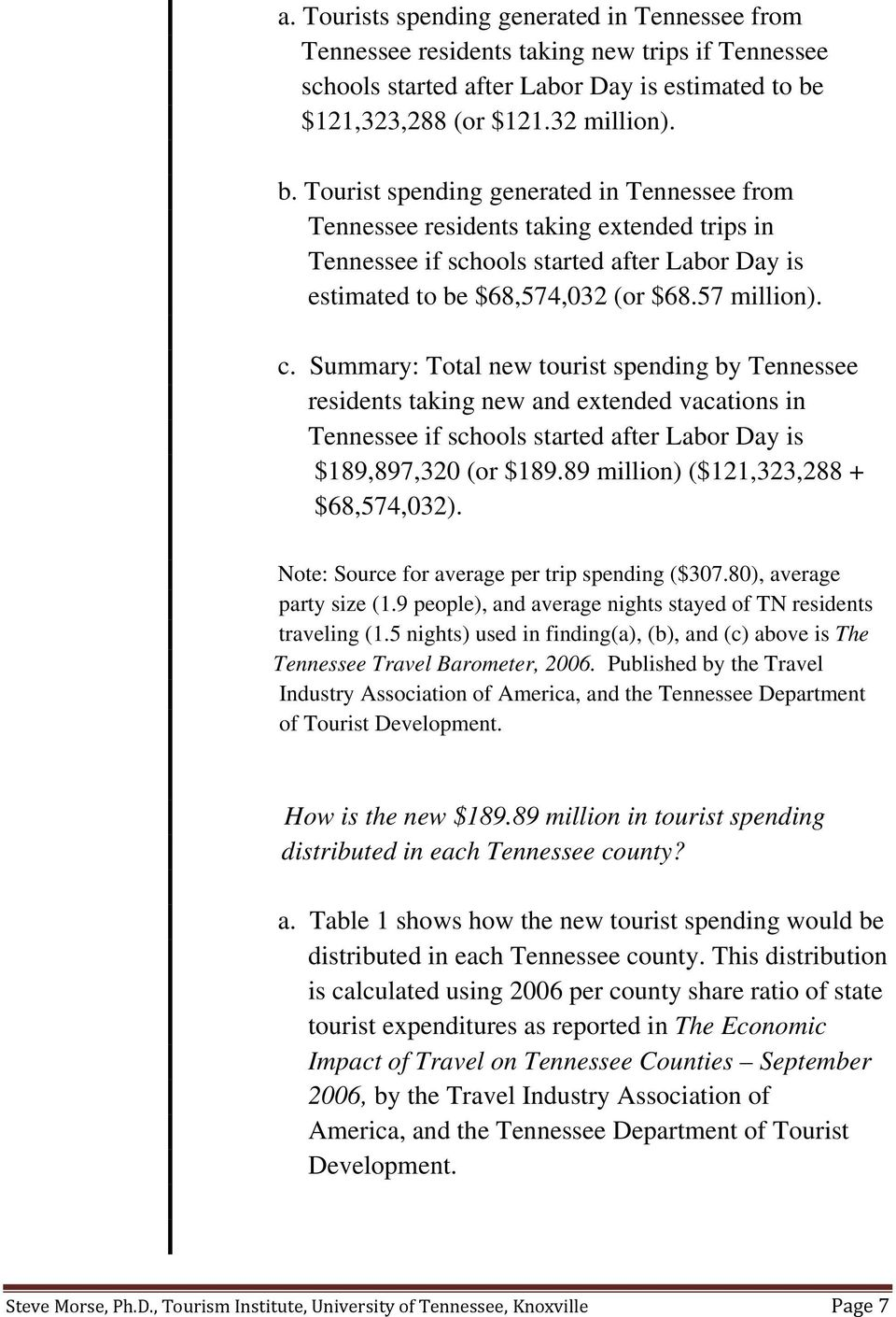 Tourist spending generated in Tennessee from Tennessee residents taking extended trips in Tennessee if schools started after Labor Day is estimated to be $68,574,032 (or $68.57 million). c.