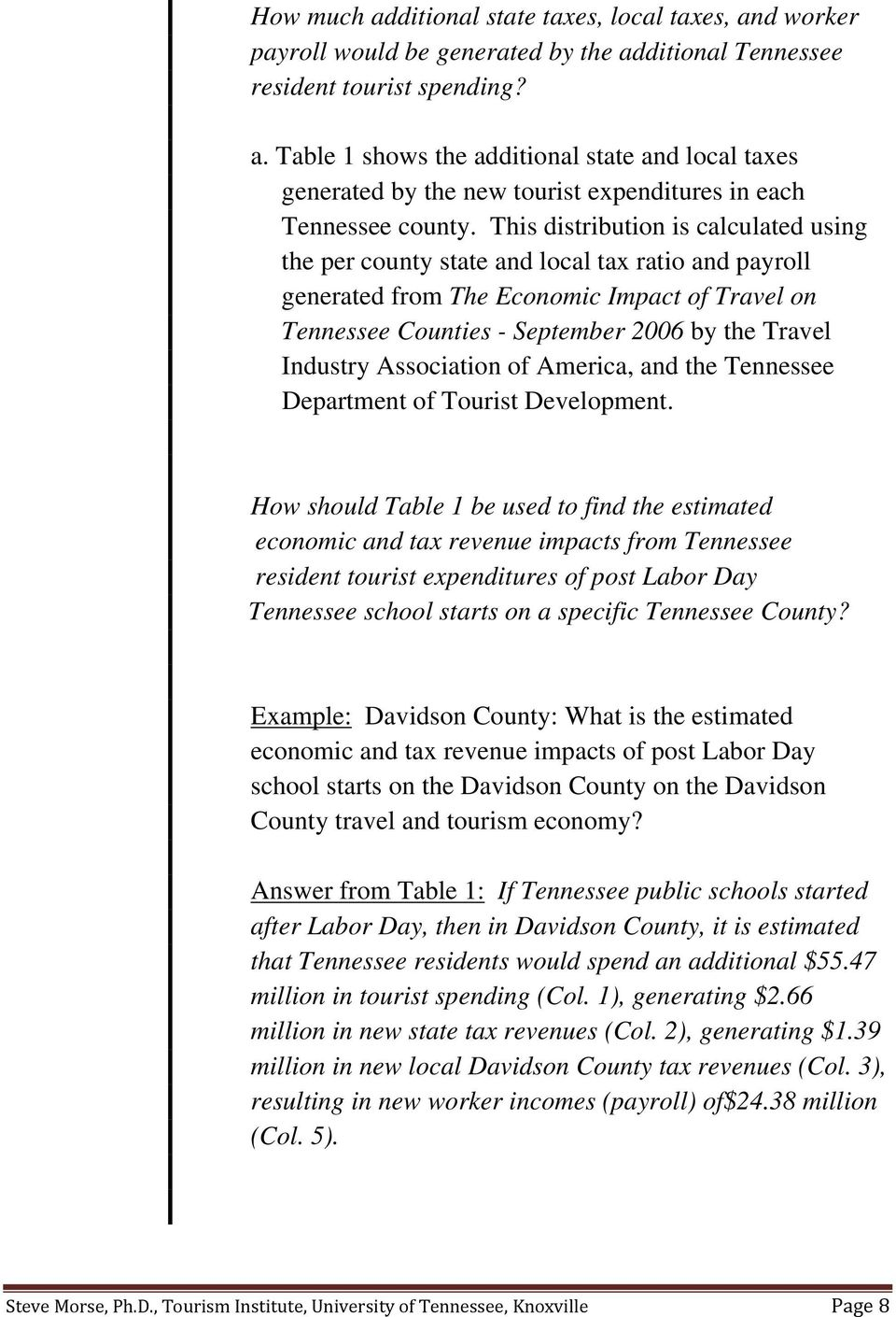 Association of America, and the Tennessee Department of Tourist Development.