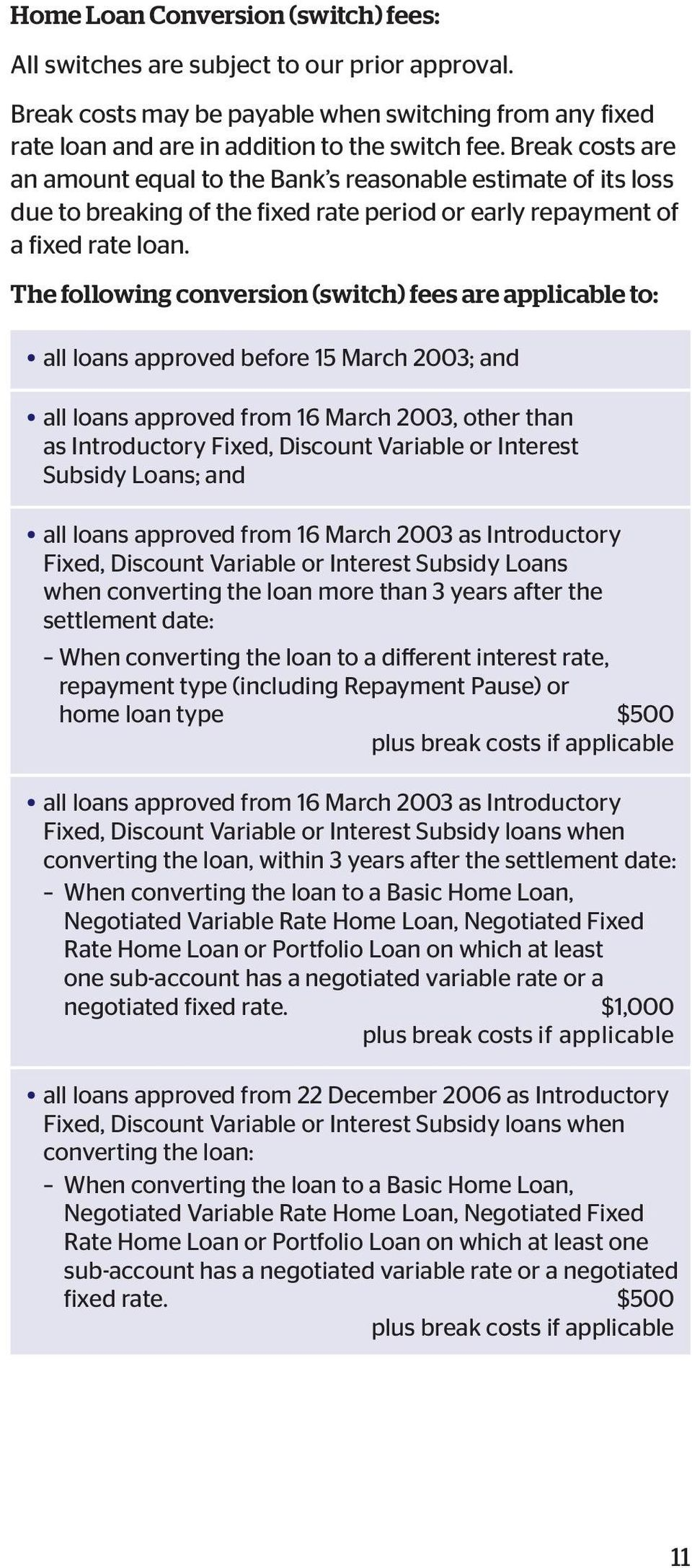 The following conversion (switch) fees are applicable to: all loans approved before 15 March 2003; and all loans approved from 16 March 2003, other than as Introductory Fixed, Discount Variable or