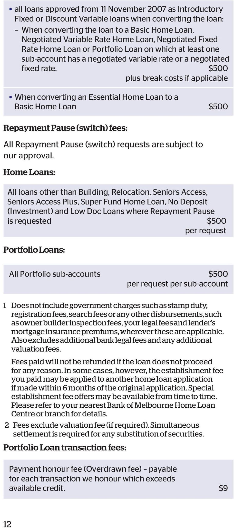 $500 plus break costs if applicable When converting an Essential Home Loan to a Basic Home Loan $500 Repayment Pause (switch) fees: All Repayment Pause (switch) requests are subject to our approval.