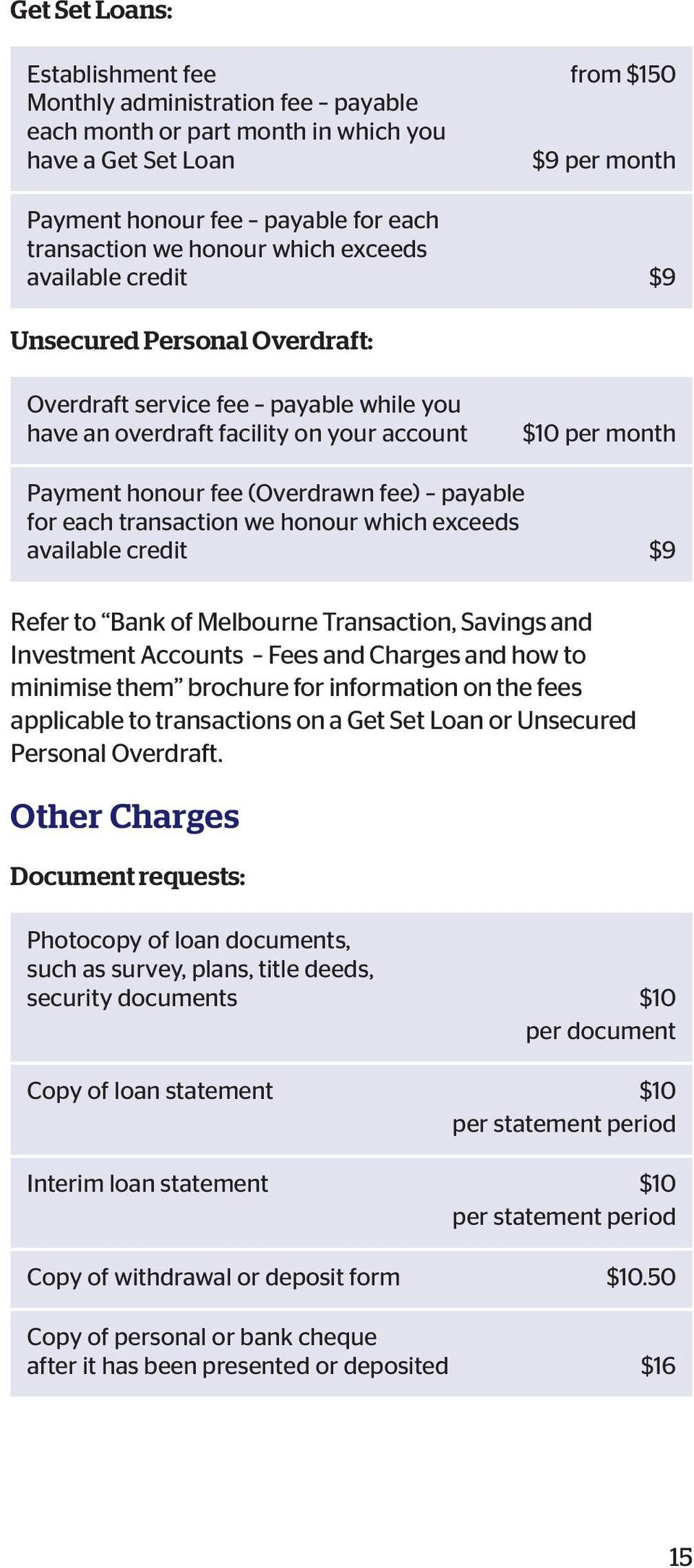 fee) payable for each transaction we honour which exceeds available credit $9 Refer to Bank of Melbourne Transaction, Savings and Investment Accounts Fees and Charges and how to minimise them