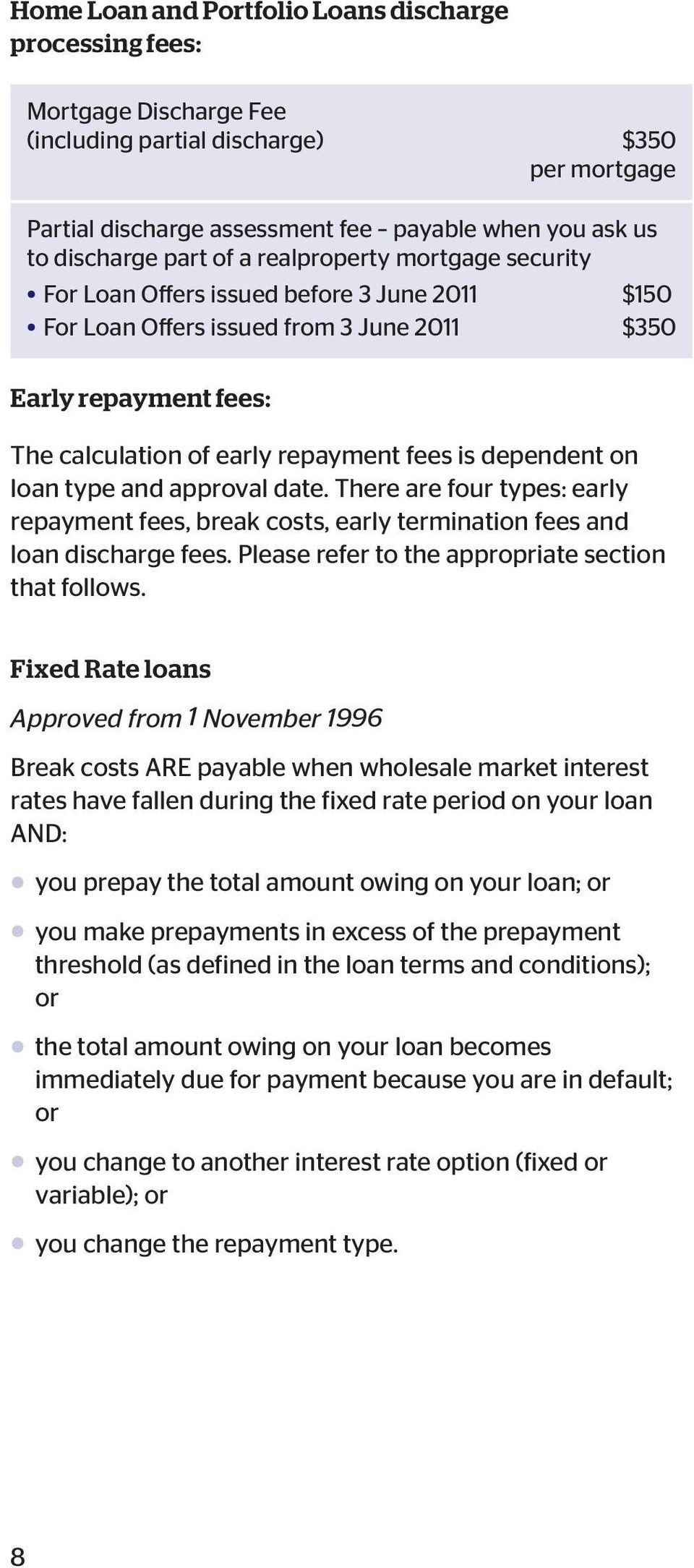 dependent on loan type and approval date. There are four types: early repayment fees, break costs, early termination fees and loan discharge fees. Please refer to the appropriate section that follows.