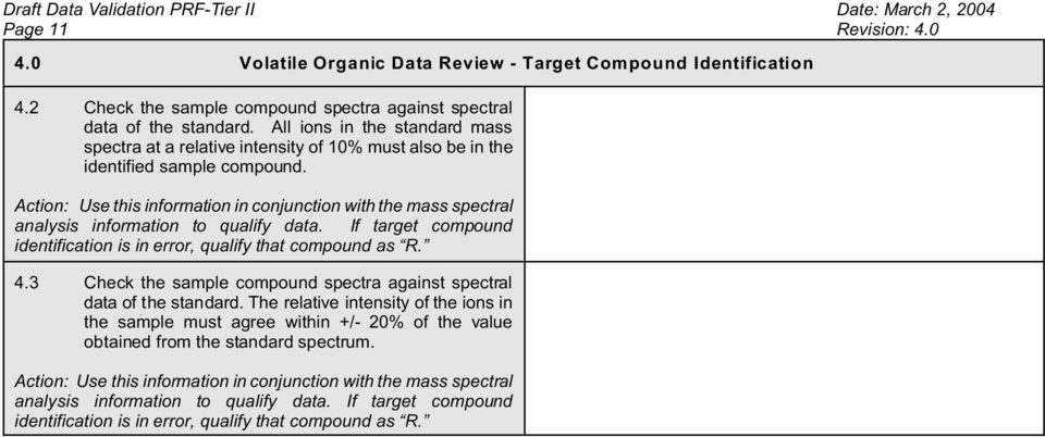 Action: Use this information in conjunction with the mass spectral analysis information to qualify data. If target compound identification is in error, qualify that compound as R. 4.