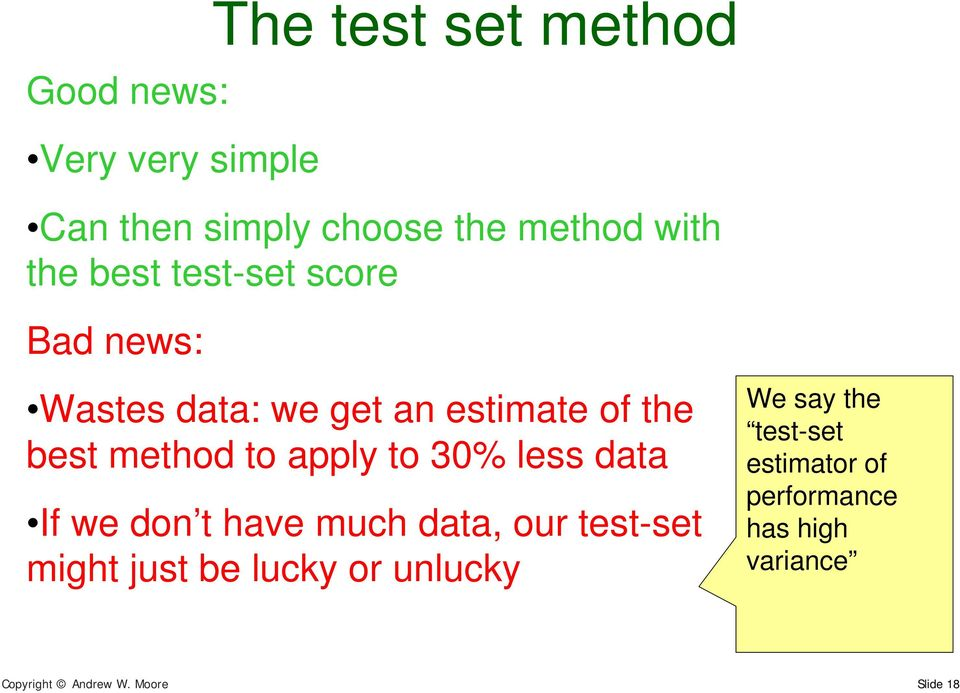 to 30% less data If we don t have much data, our test-set might just be luck or unluck We