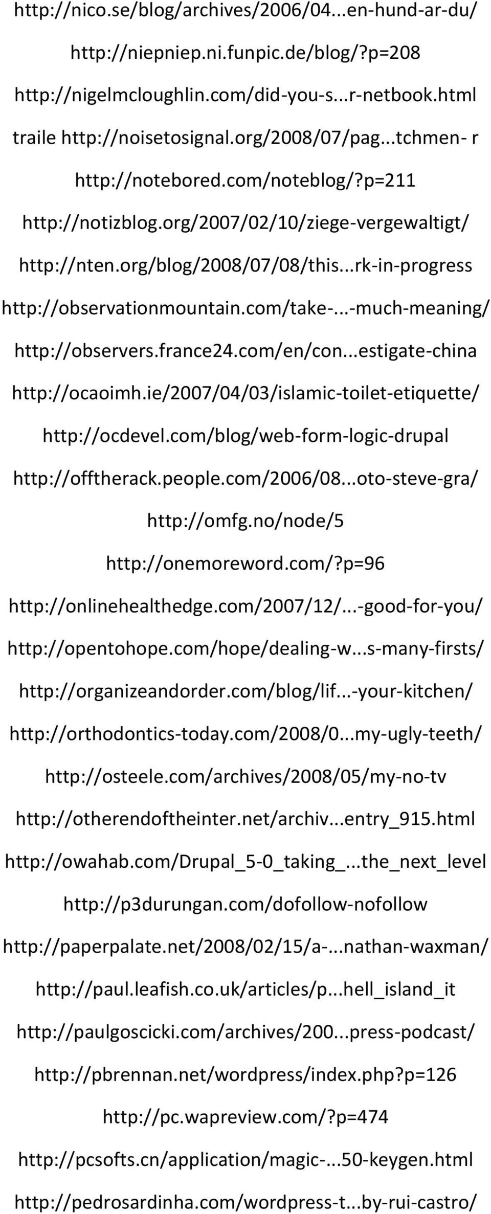 ..-much-meaning/ http://observers.france24.com/en/con...estigate-china http://ocaoimh.ie/2007/04/03/islamic-toilet-etiquette/ http://ocdevel.com/blog/web-form-logic-drupal http://offtherack.people.