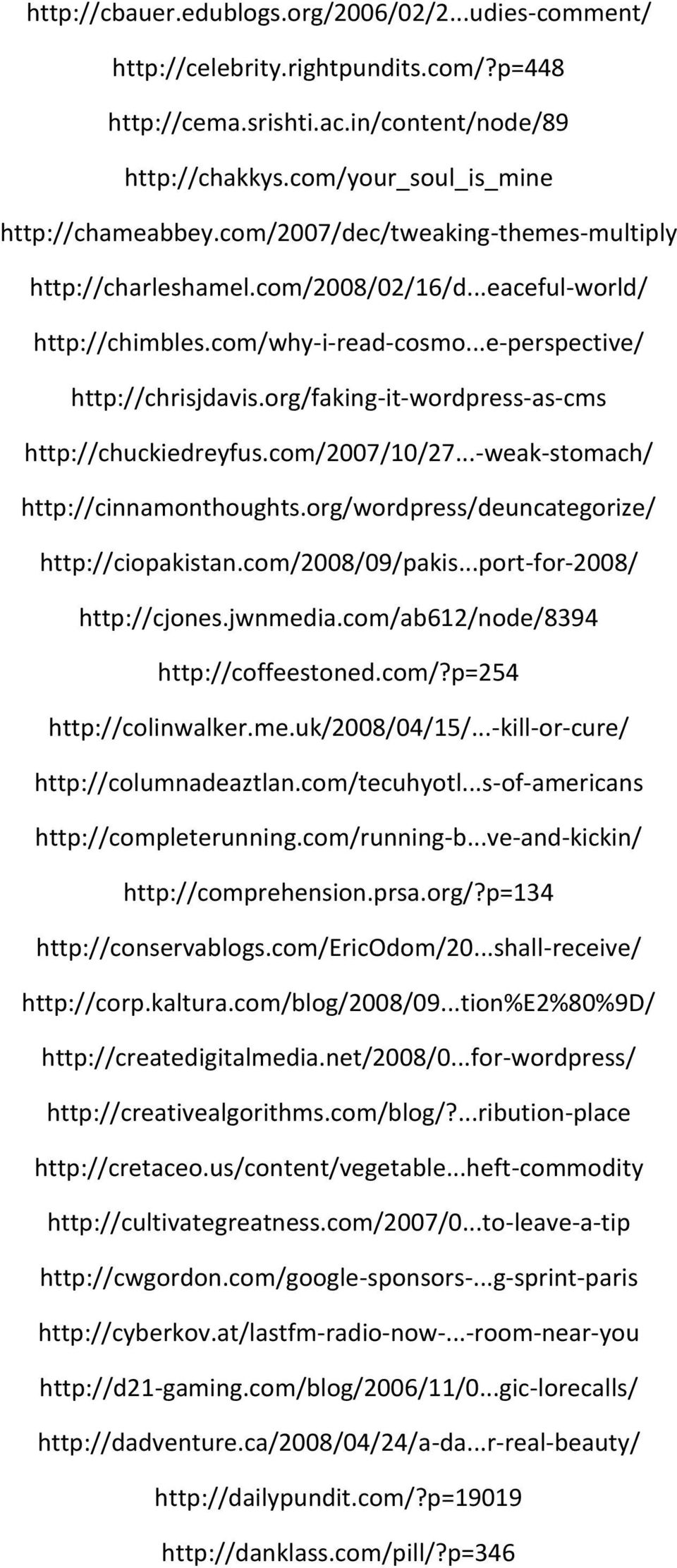 org/faking-it-wordpress-as-cms http://chuckiedreyfus.com/2007/10/27...-weak-stomach/ http://cinnamonthoughts.org/wordpress/deuncategorize/ http://ciopakistan.com/2008/09/pakis.