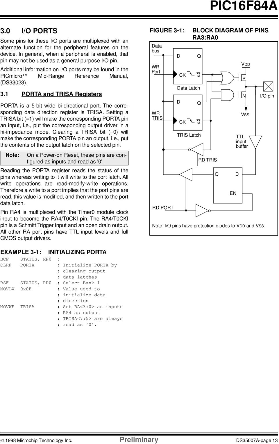 3. PORTA and TRISA Registers PORTA is a 5-bit wide bi-directional port. The corresponding data direction register is TRISA. Setting a TRISA bit (=) will make the corresponding PORTA pin an input, i.e., put the corresponding output driver in a hi-impedance mode.