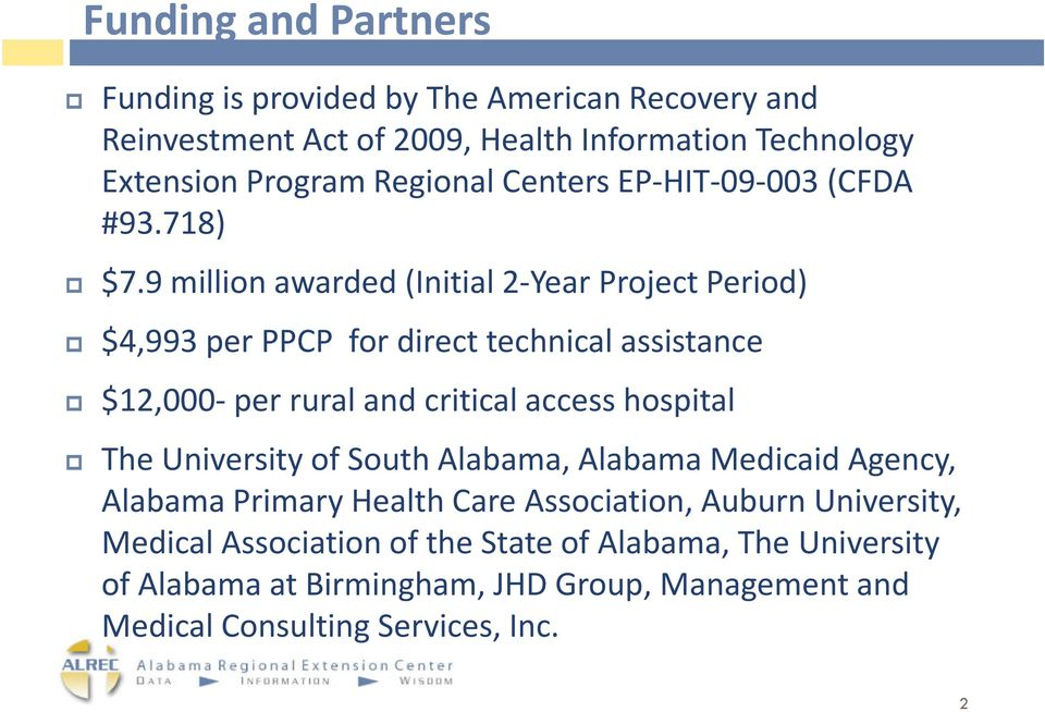 9 million awarded (Initial 2-Year Project Period) $4,993 per PPCP for direct technical assistance $12,000-per rural and critical access hospital The