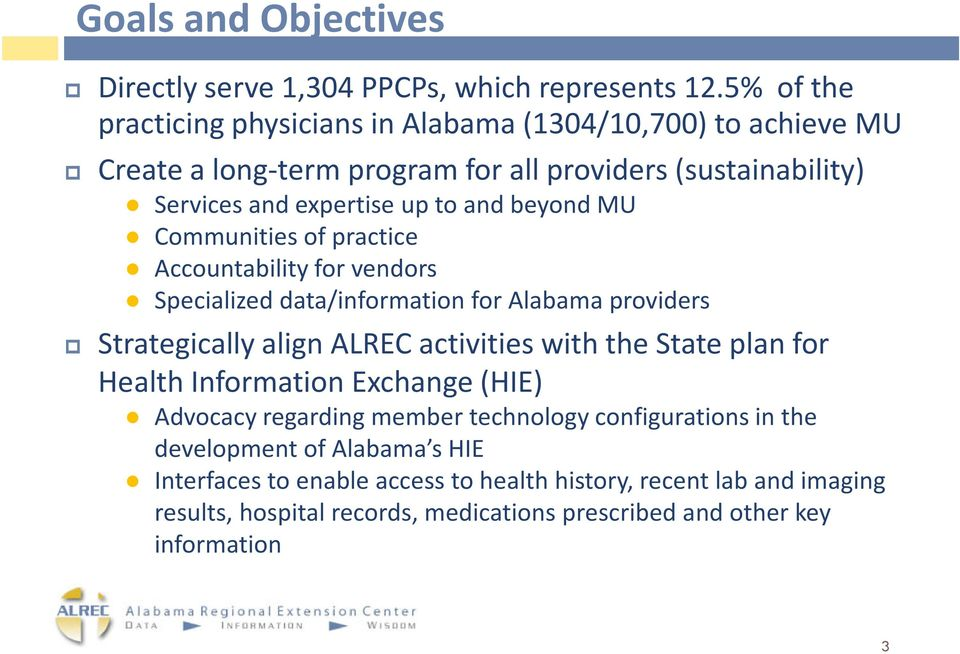 beyond MU Communities of practice Accountability for vendors Specialized data/information for Alabama providers Strategically align ALREC activities with the State plan