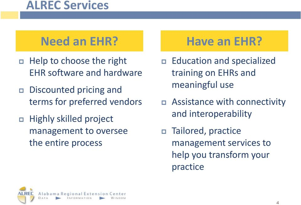 vendors Highly skilled project management to oversee the entire process Have an EHR?