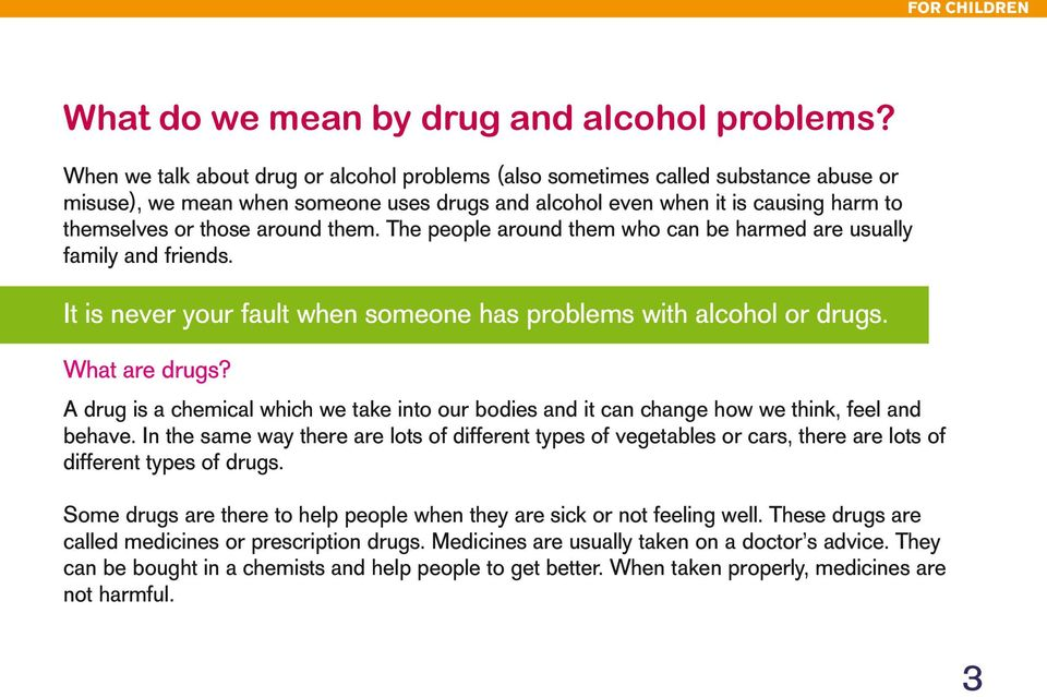 them. The people around them who can be harmed are usually family and friends. It is never your fault when someone has problems with alcohol or drugs. What are drugs?