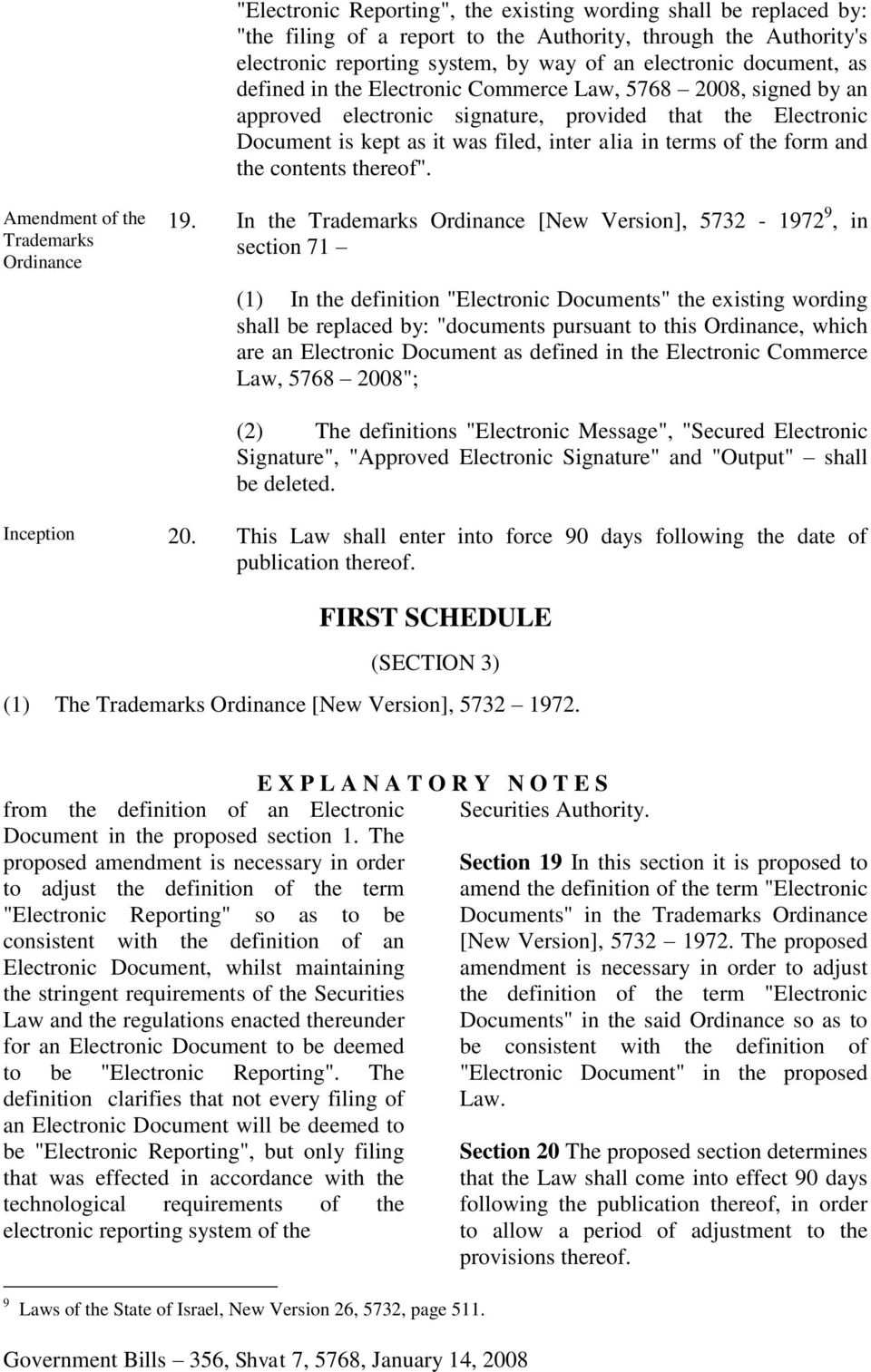 "contents thereof"". Amendment of the Trademarks Ordinance 19."