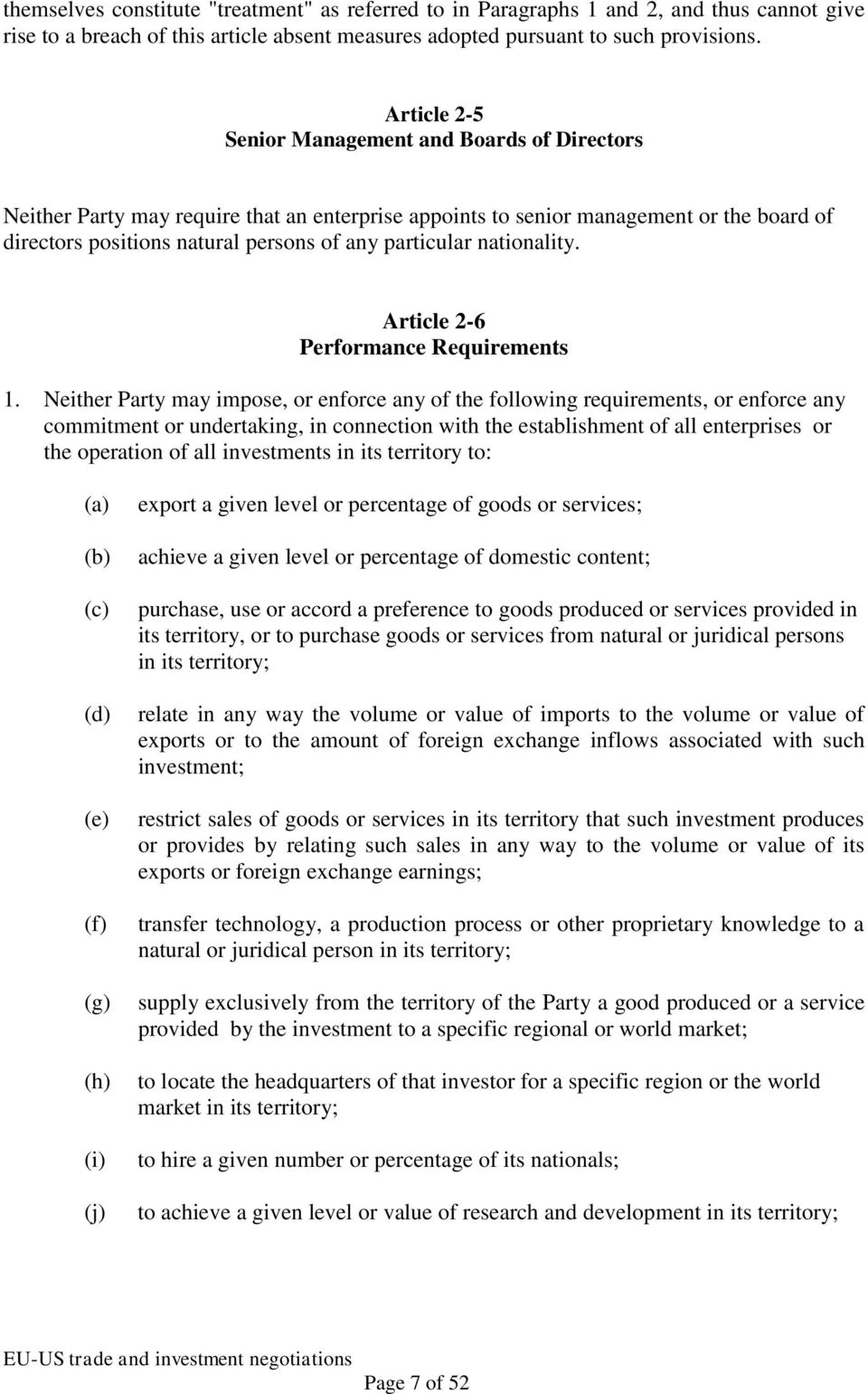 nationality. Article 2-6 Performance Requirements 1.