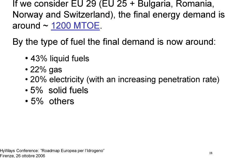 By the type of fuel the final demand is now around: 43% liquid fuels