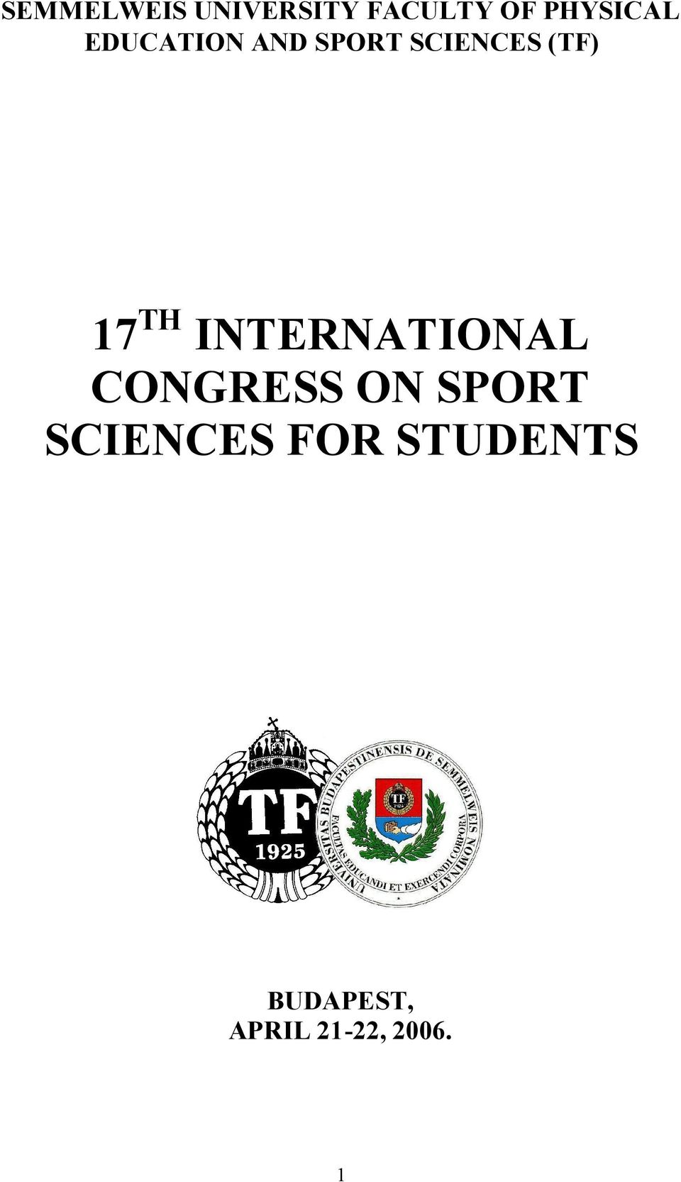 INTERNATIONAL CONGRESS ON SPORT SCIENCES