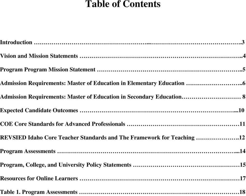 .6 Admission Requirements: Master of Education in Secondary Education 8 Expected Candidate Outcomes.