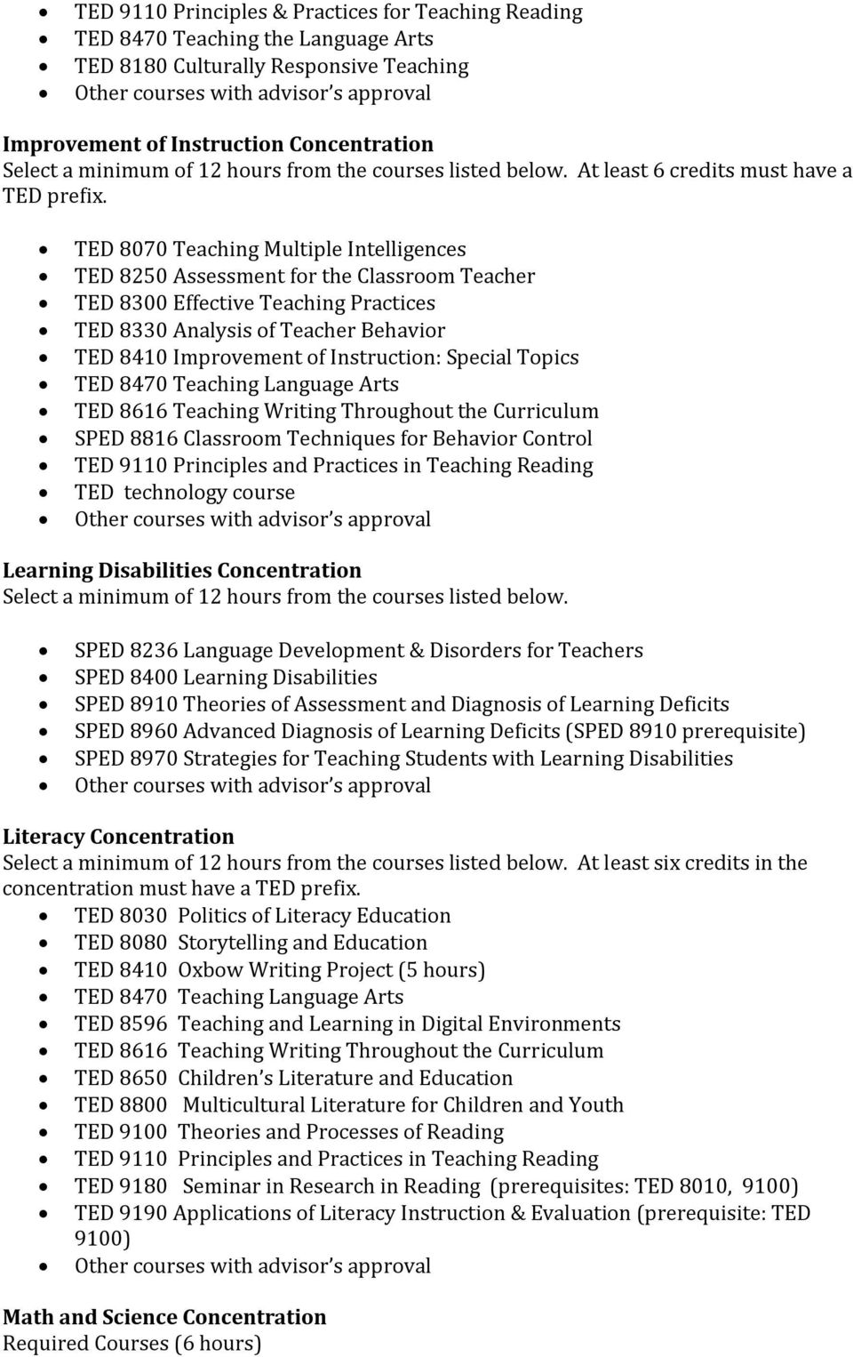 TED 8070 Teaching Multiple Intelligences TED 8250 Assessment for the Classroom Teacher TED 8300 Effective Teaching Practices TED 8330 Analysis of Teacher Behavior TED 8410 Improvement of Instruction: